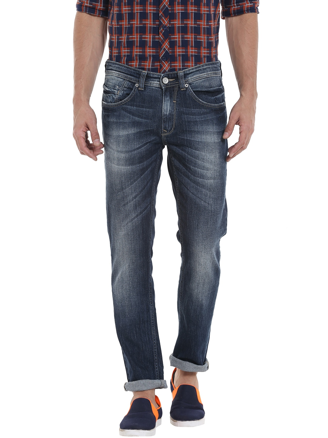 SPYKAR Men Navy Tapered Fit Low-Rise Clean Look Jeans image