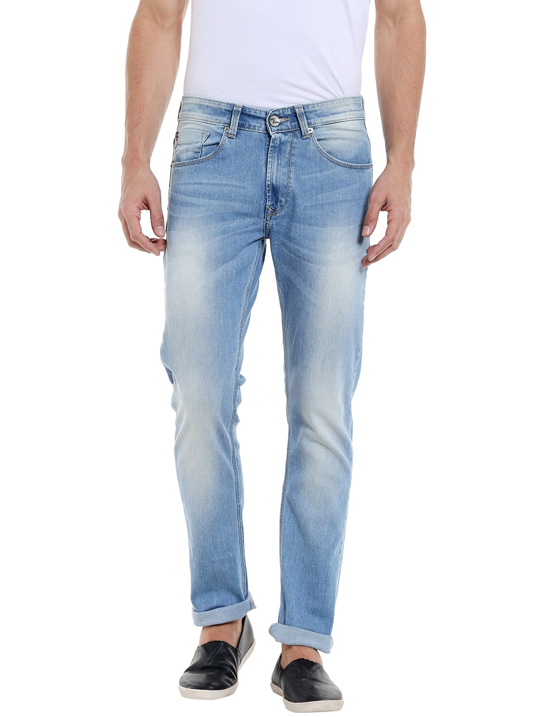 SPYKAR Men Blue Tapered Fit Low-Rise Clean Look Jeans image