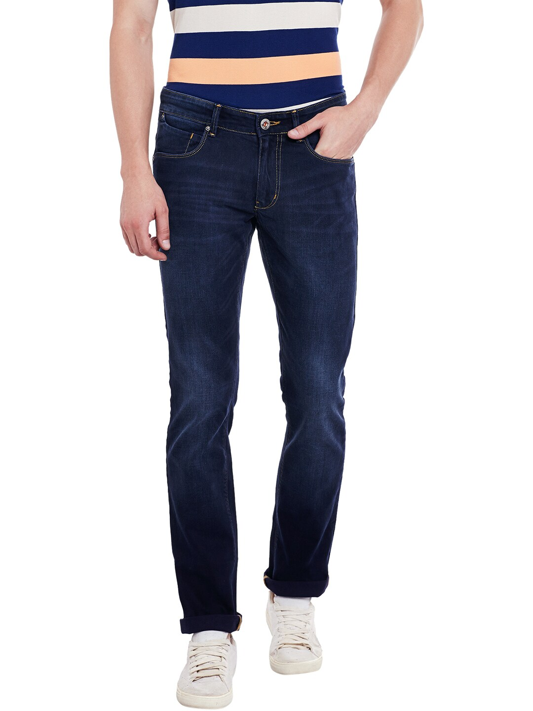 Numero Uno Men Navy Blue Morice Slim Fit Low-Rise Clean Look Jeans image
