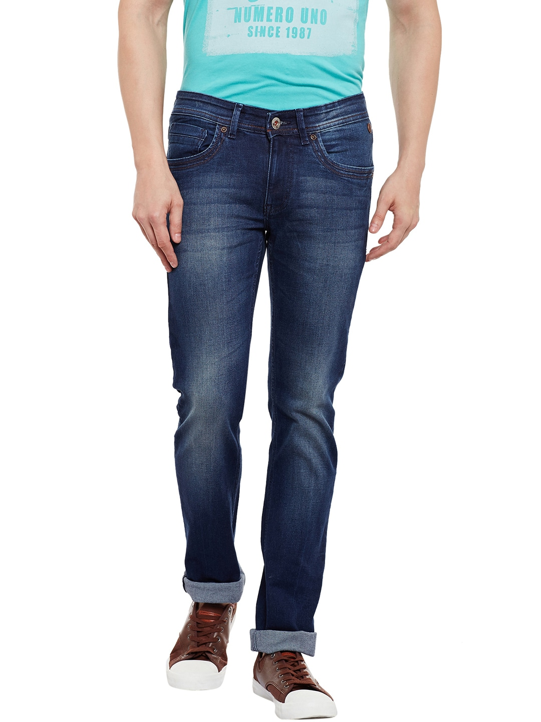 Numero Uno Men Blue Morice Slim Fit Mid-Rise Clean Look Jeans image