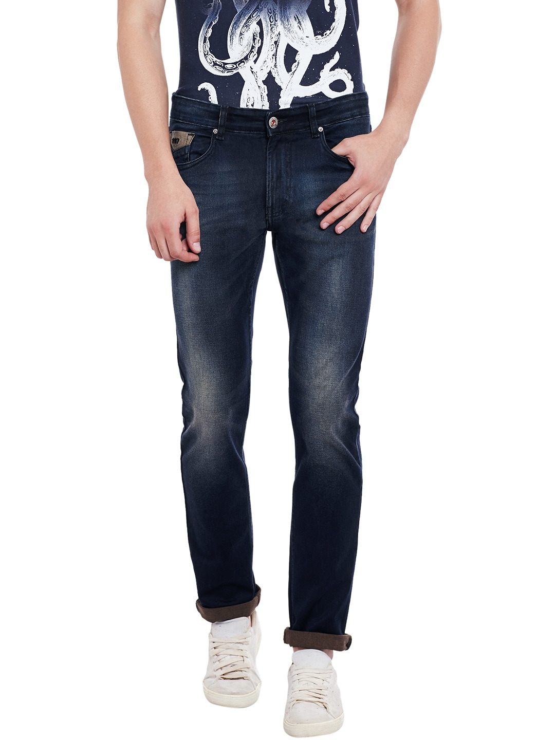 Numero Uno Men Navy Martin Skinny Fit Low-Rise Clean Look Jeans image
