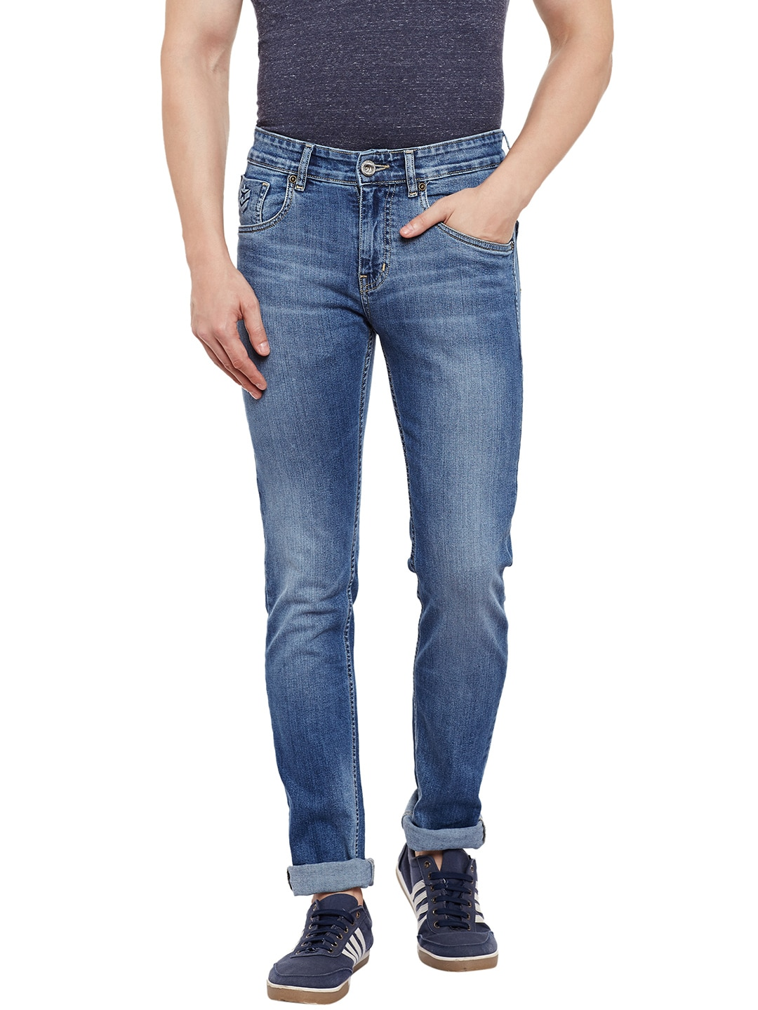 Numero Uno Men Blue Martin Skinny Fit Low-Rise Clean Look Jeans image