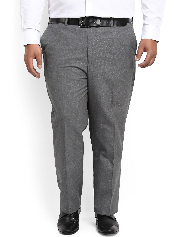 aLL Men Grey Regular Fit Self Design Formal Trousers image