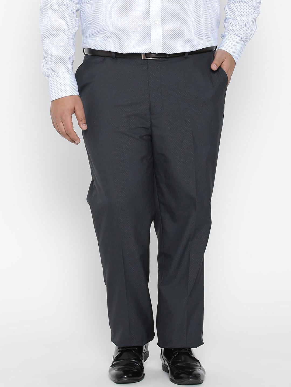 aLL Men Navy Blue Self-Design Formal Trousers image