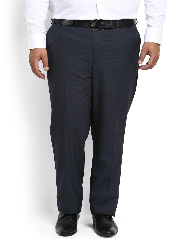 aLL Men Navy Blue Regular Fit Self Design Formal Trousers image