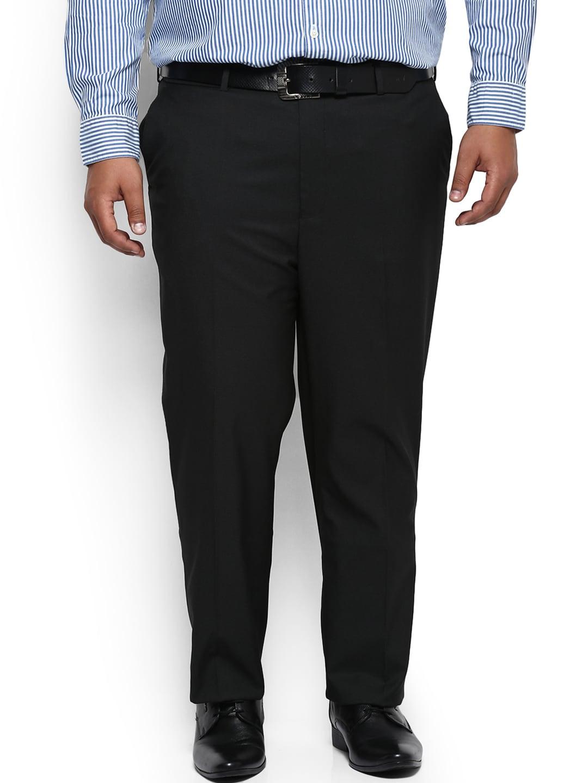 aLL Men Black Regular Fit Solid Formal Trousers image