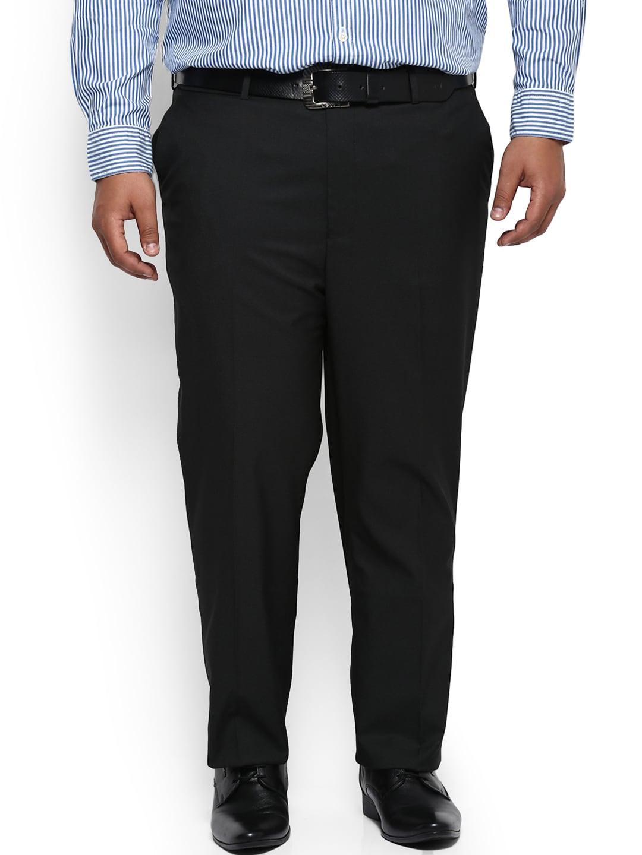 aLL Men Black Regular Fit Self Design Formal Trousers image