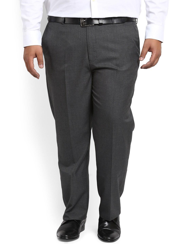 aLL Men Charcoal Regular Fit Self Design Formal Trousers image