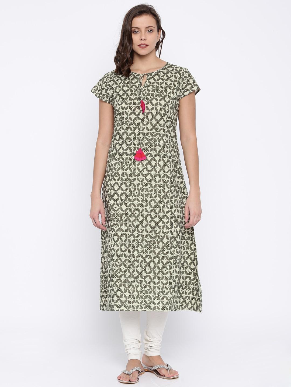 Sringam Women Off-WHITE & Olive Green Printed A-Line Kurta image