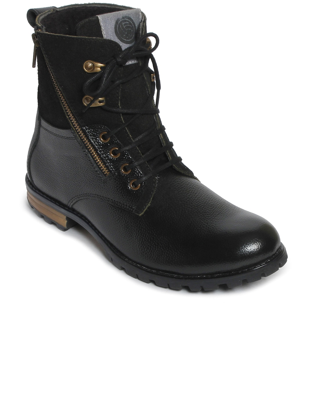 bacca bucci Men Black Solid Leather High-Top Flat Boots image