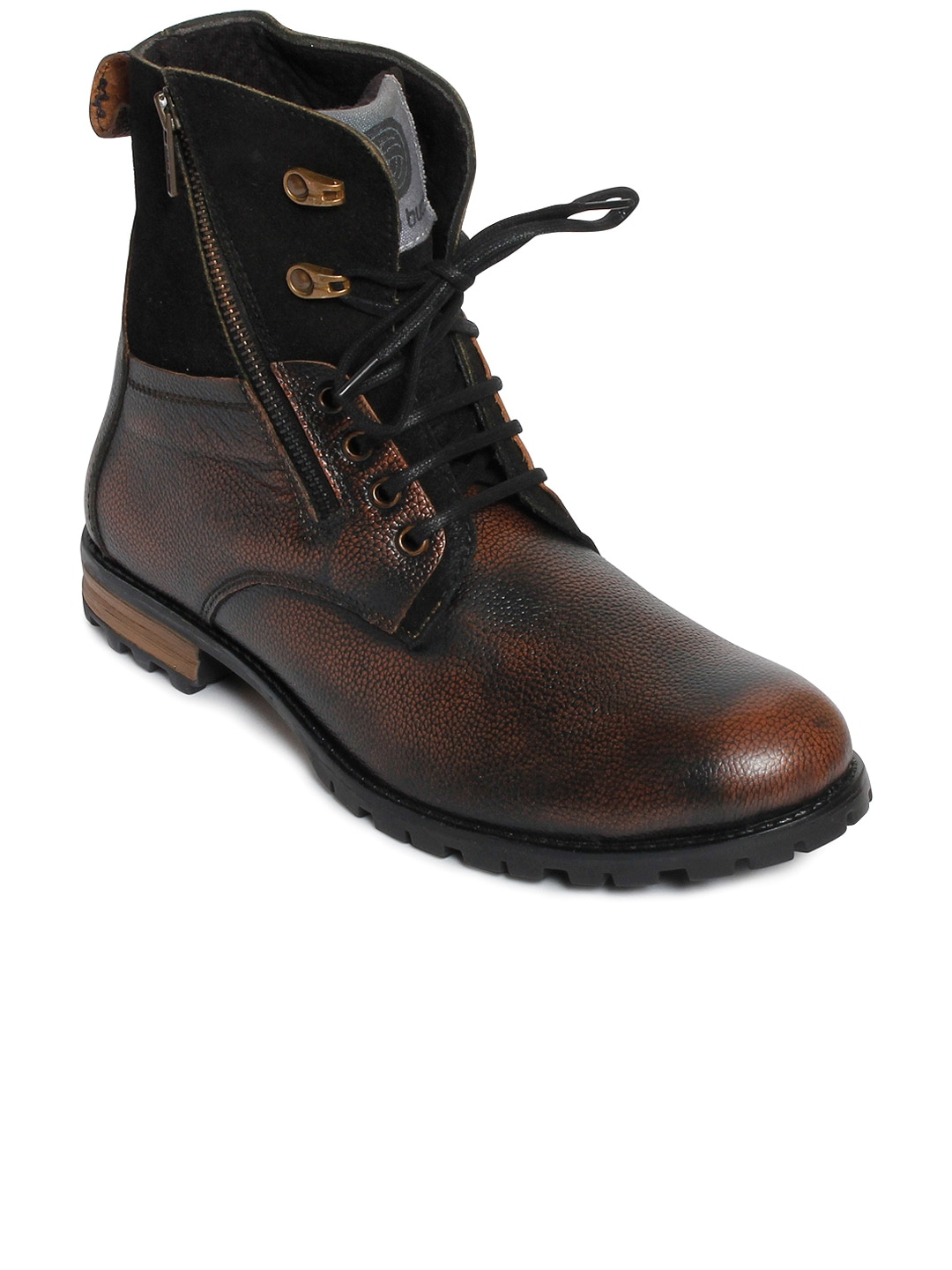 bacca bucci Men Brown Solid Leather High-Top Flat Boots image