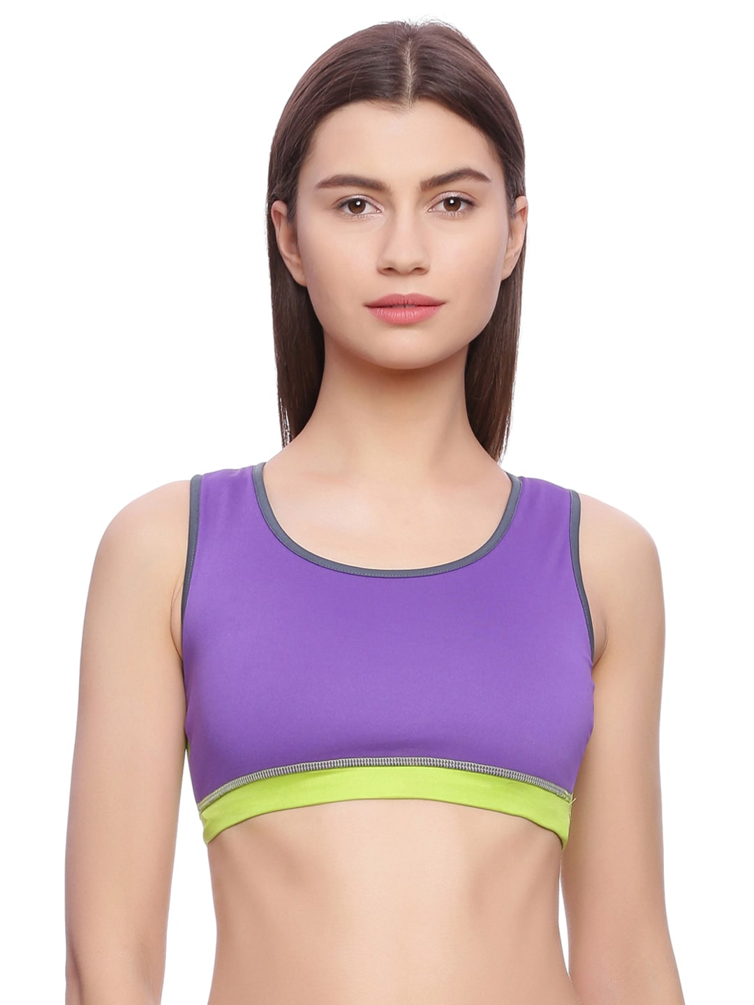 Rosaline Purple & Lime Green Solid Underwired Lightly Padded Sports Bra image