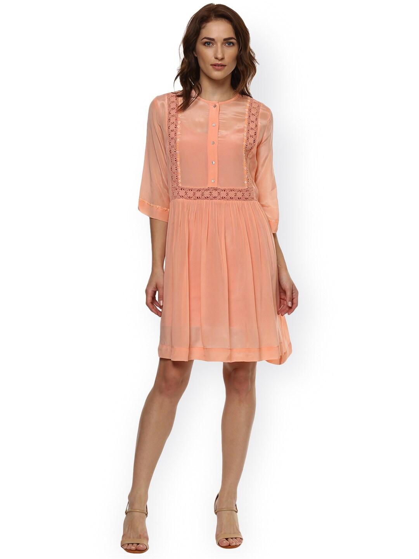 Label Ritu Kumar Women Peach-Coloured Solid Fit & Flare Dress image