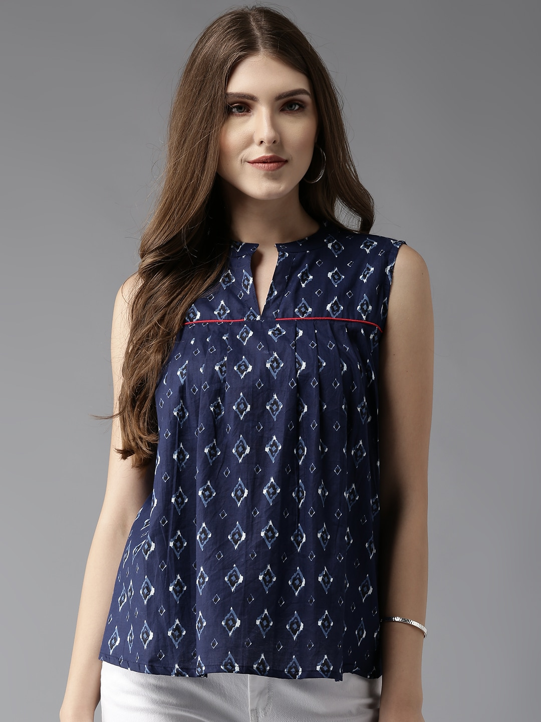 HERE&NOW Women Navy Printed A-Line Top