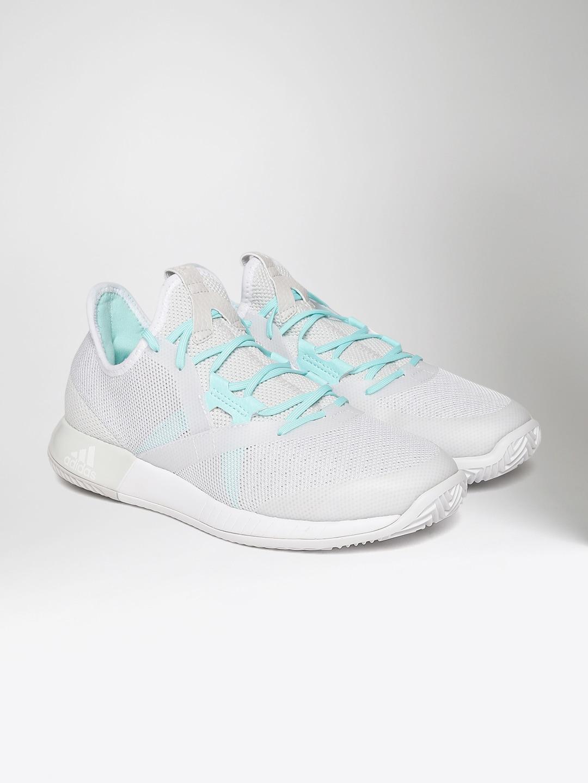 Adidas Women Grey Adizero Defiant Bounce Tennis Shoes image