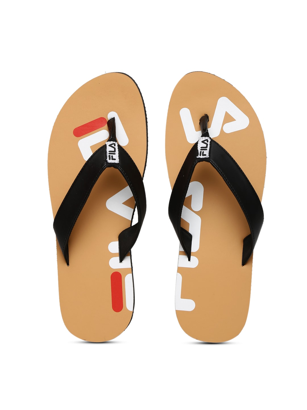 FILA Men Black & Brown Printed Spread Flip-Flops image