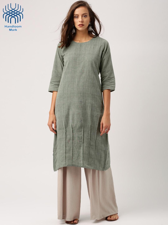 IndusDiva Loomnic Women Grey Solid Mangalgiri Handloom A-Line Kurta image