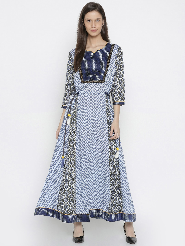 Shree Women Blue & White Printed A-Line Kurta image