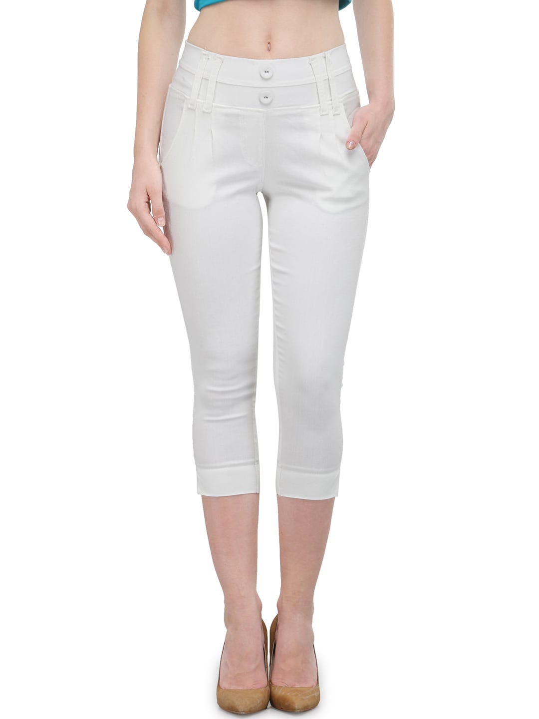 Westwood Women White Solid Skinny Fit Capris image