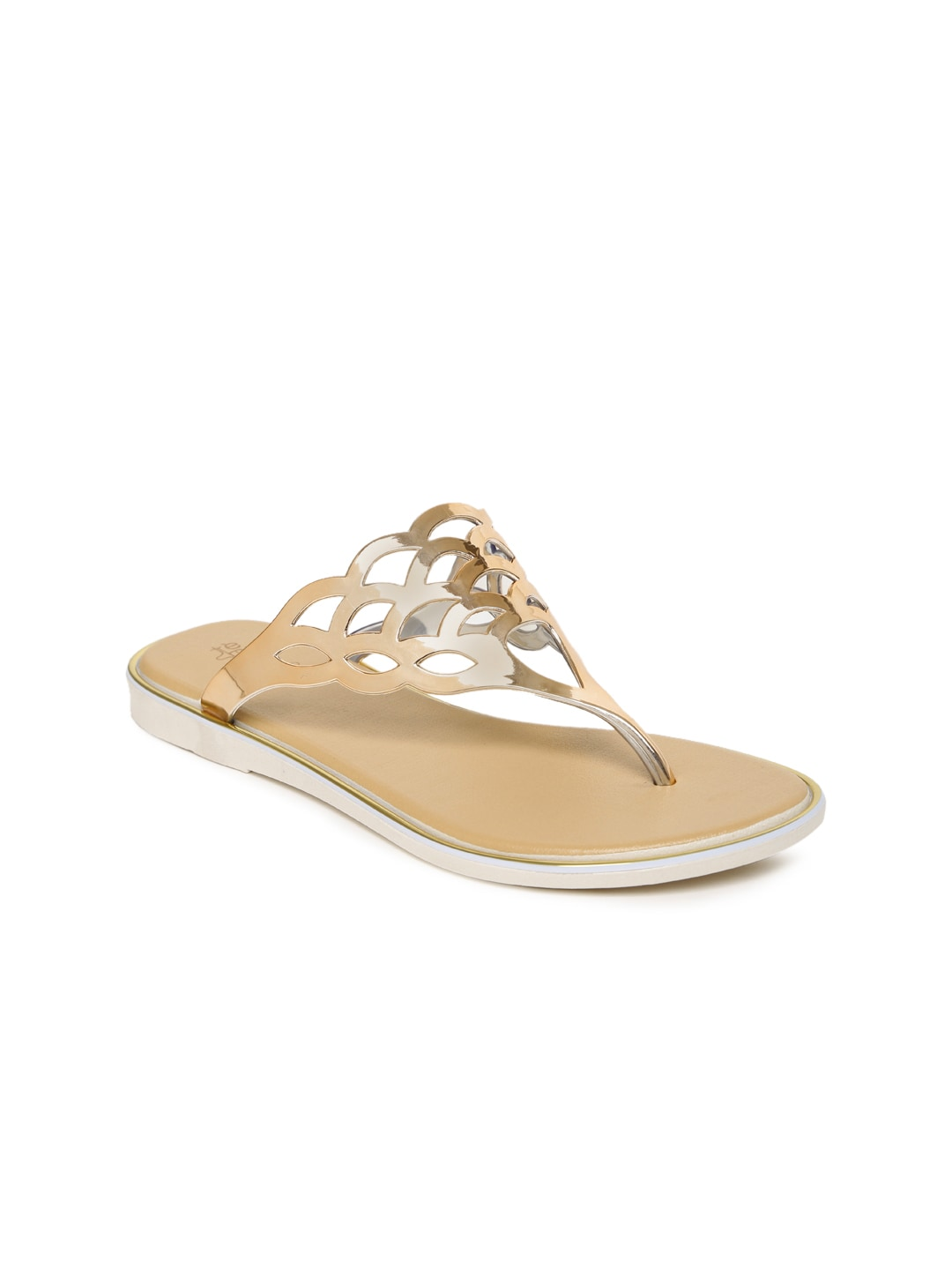 Tresmode Women Gold-Toned Flats with Cut-Outs image