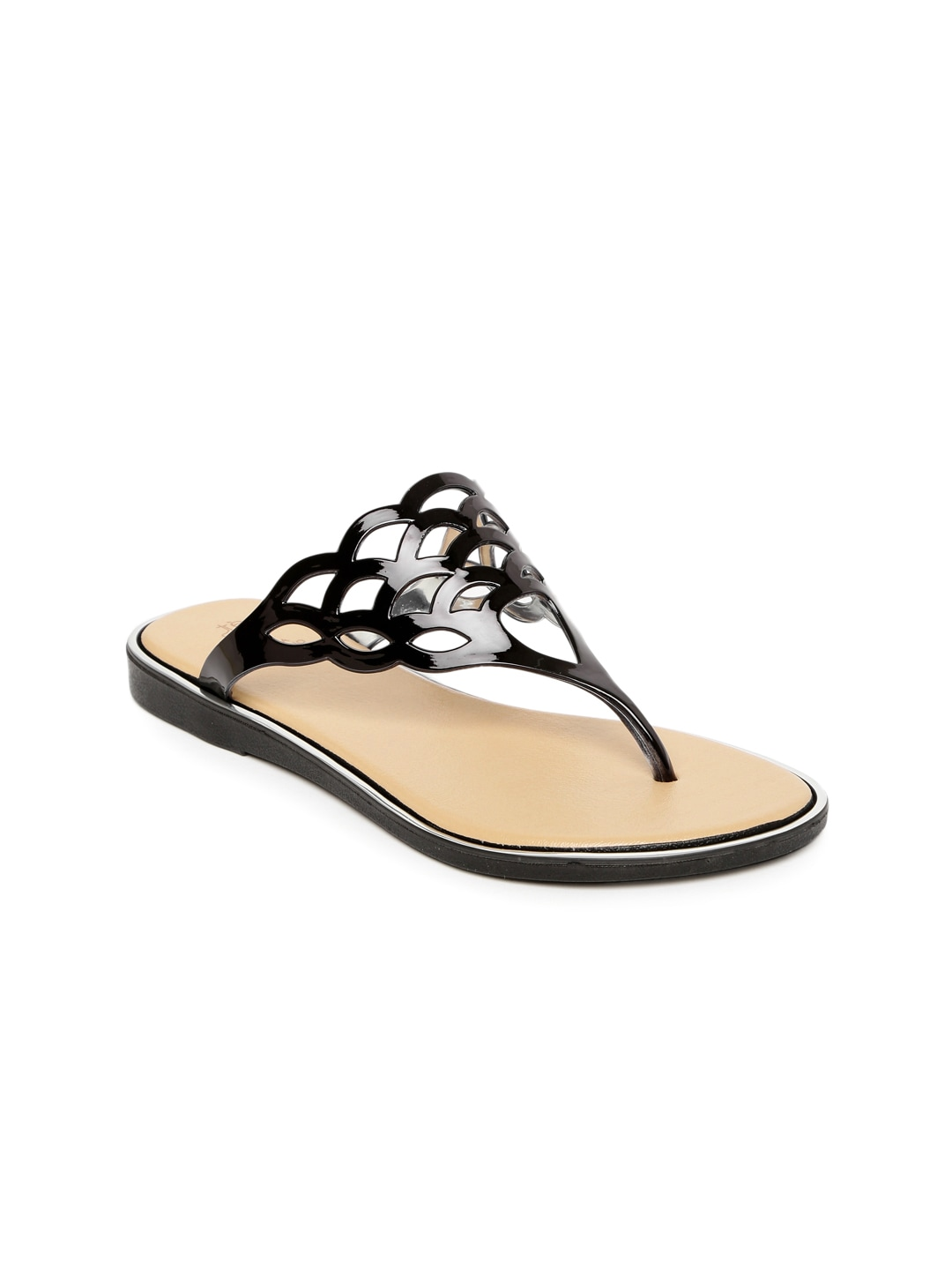 Tresmode Women Black Flats with Cut-Outs image