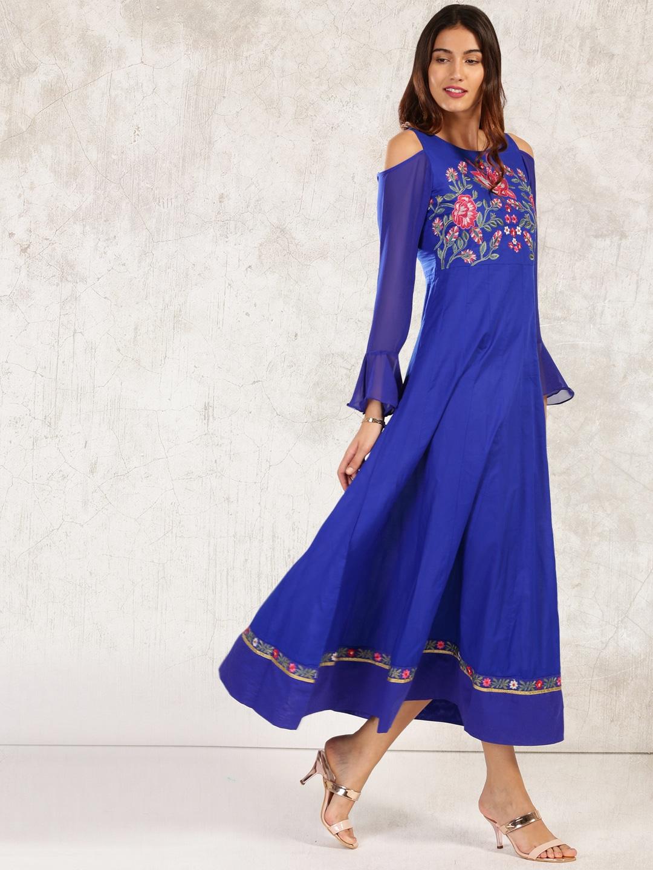 Anouk Women Blue Self Design Kurta image