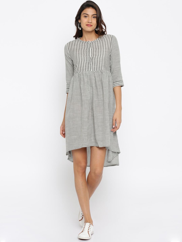 Anouk Women Grey & White Striped A-Line Kurta Dress image