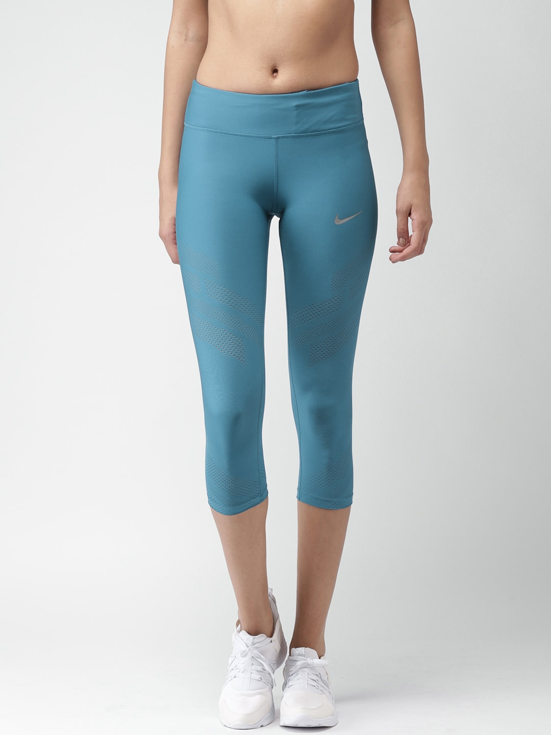 Nike Women Teal Blue CROP EPIC COOL Tight Fit Capris image