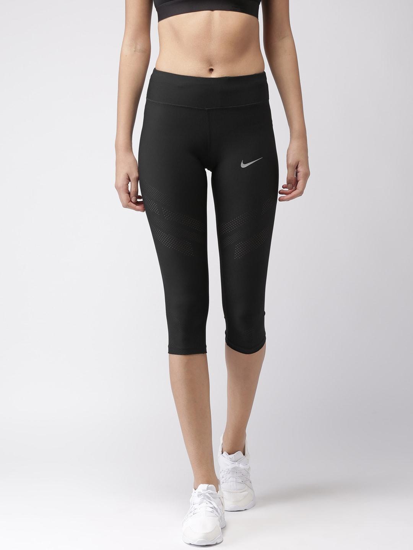 Nike Women Black CROP EPIC COOL Tight Fit Capris image