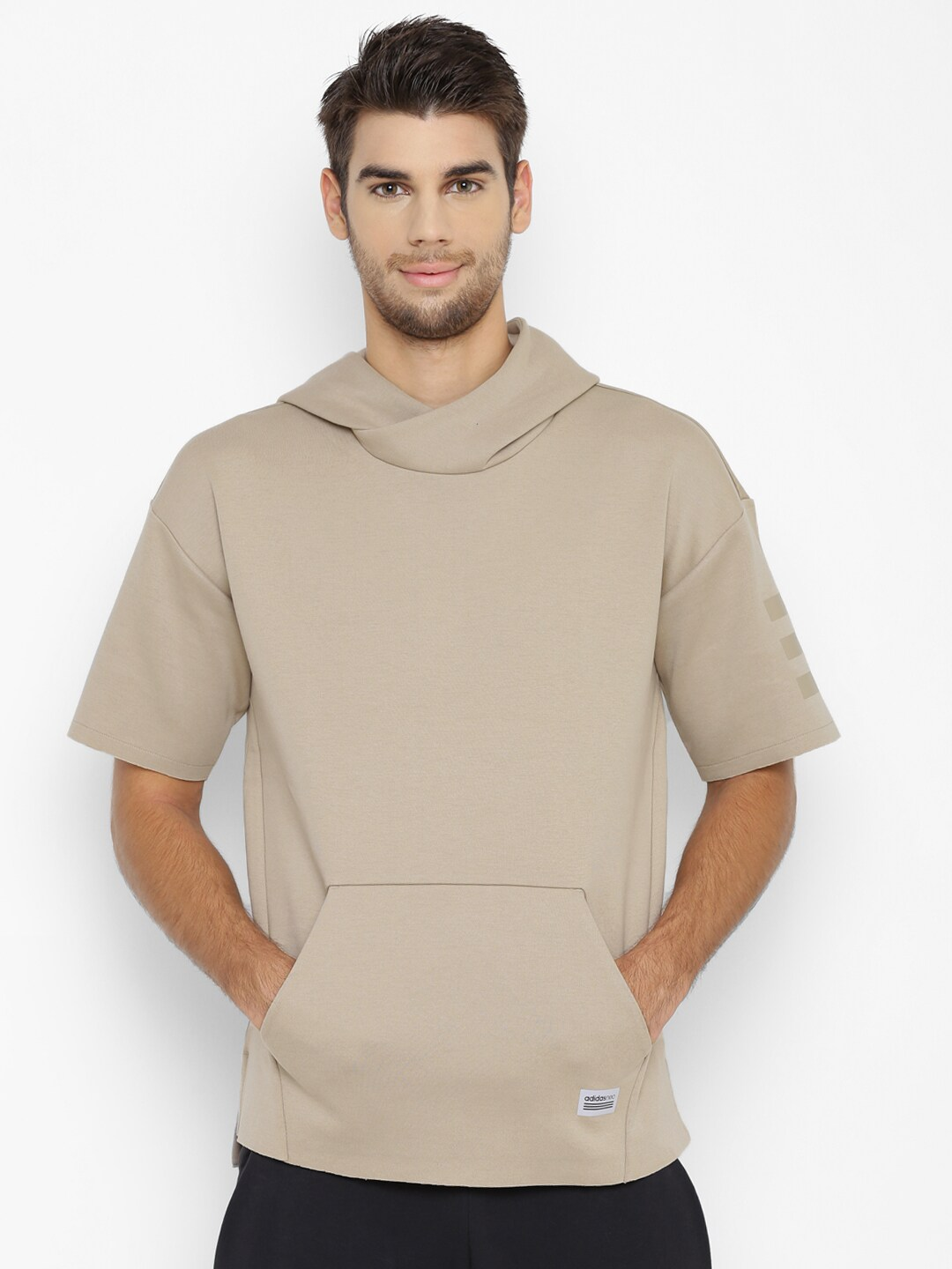 Buy Adidas NEO Beige UT Non- Ribbed Solid Hooded Men's Sweatshirt At Best Price