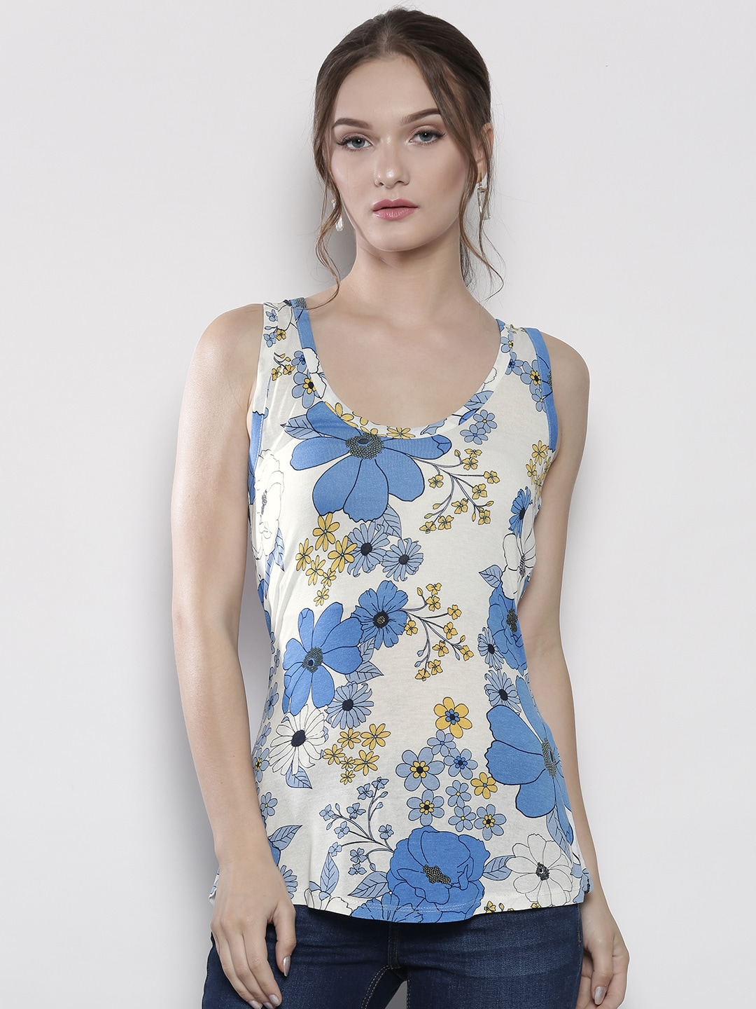 DOROTHY PERKINS Women White & Blue Printed Top image