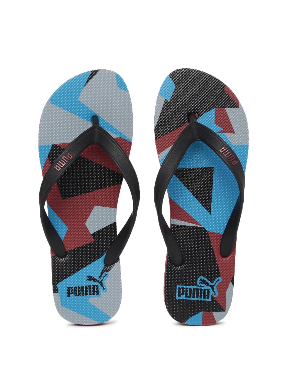 Puma Unisex Black & Blue Printed Sam DP Flip-Flops image