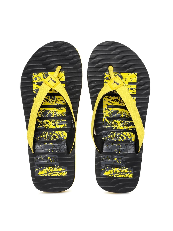 Puma Unisex Yellow & Black Printed Miami Fashion DP Flip-Flops image