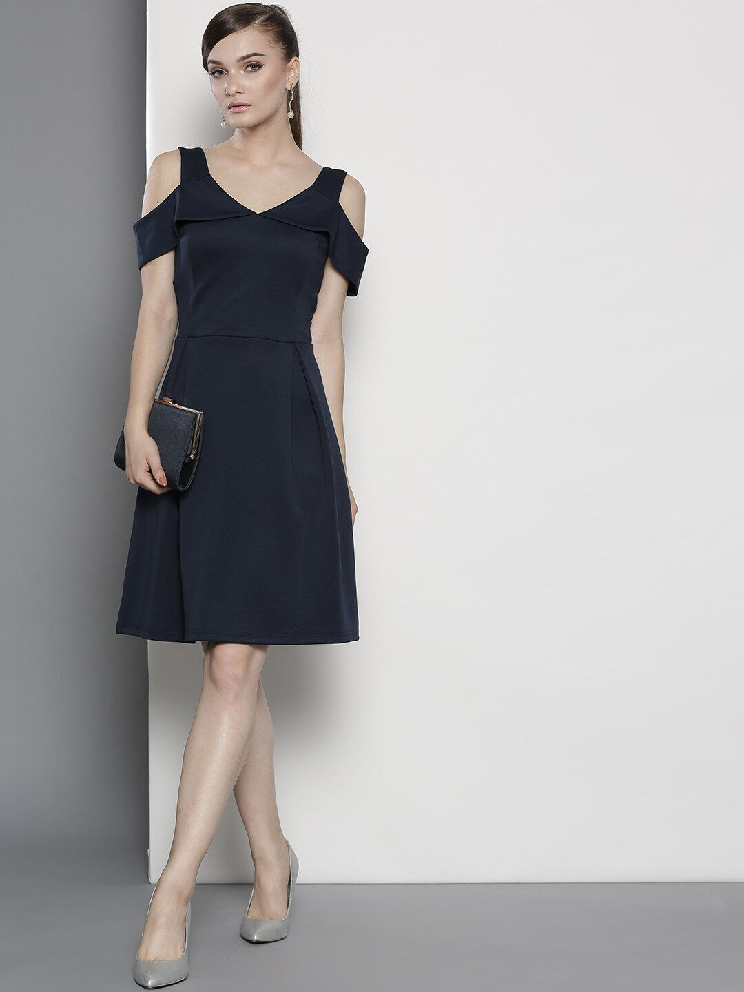 DOROTHY PERKINS Women Navy Solid Fit & Flare Dress image