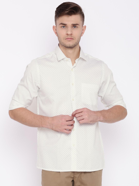 Peter England Men White Printed Casual Shirt image