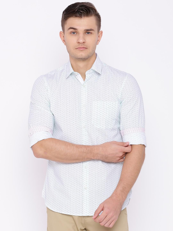 Peter England Men Green Slim Fit Printed Casual Shirt image