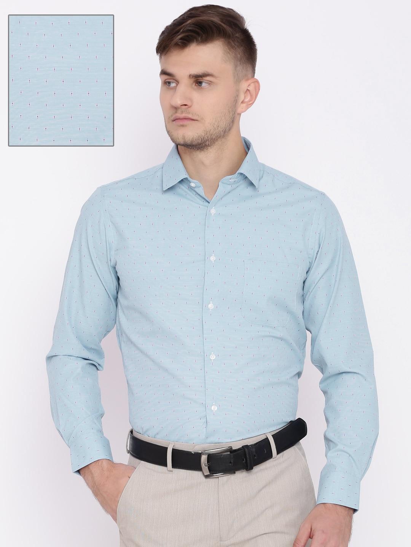 Peter England Men Blue Slim Fit Self Design Formal Shirt image