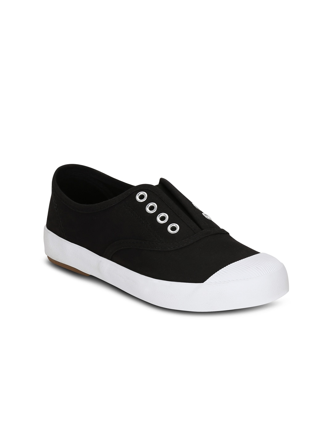Get Glamr Women Black Slip-On Sneakers image