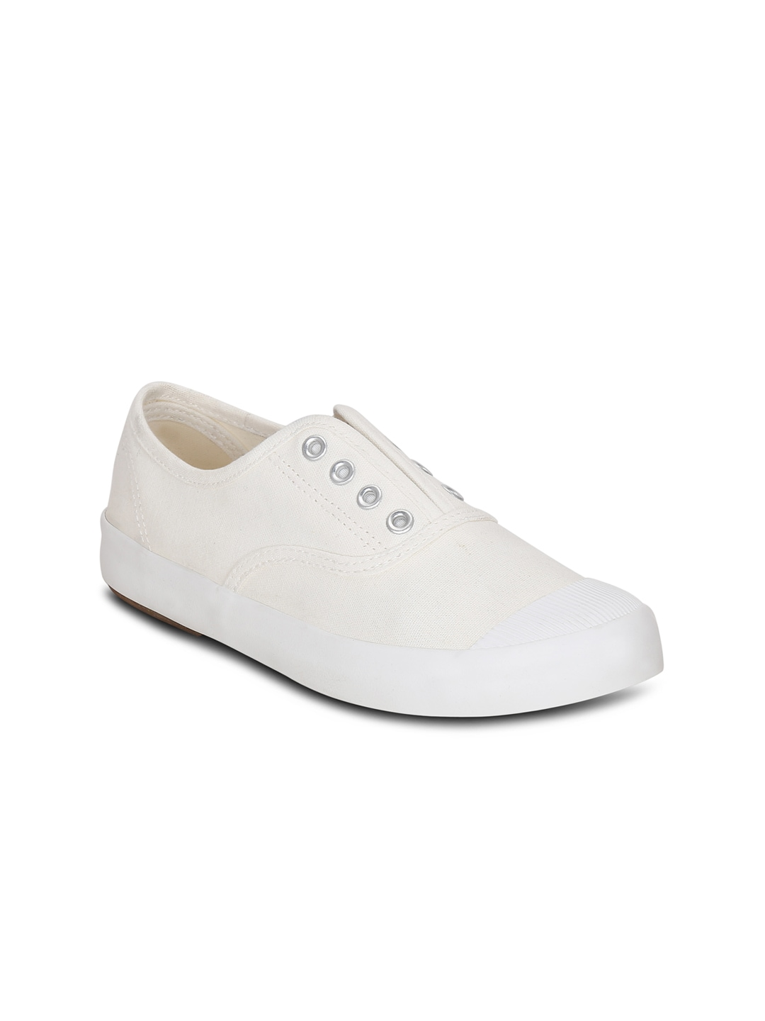 Get Glamr Women White Slip-On Sneakers image