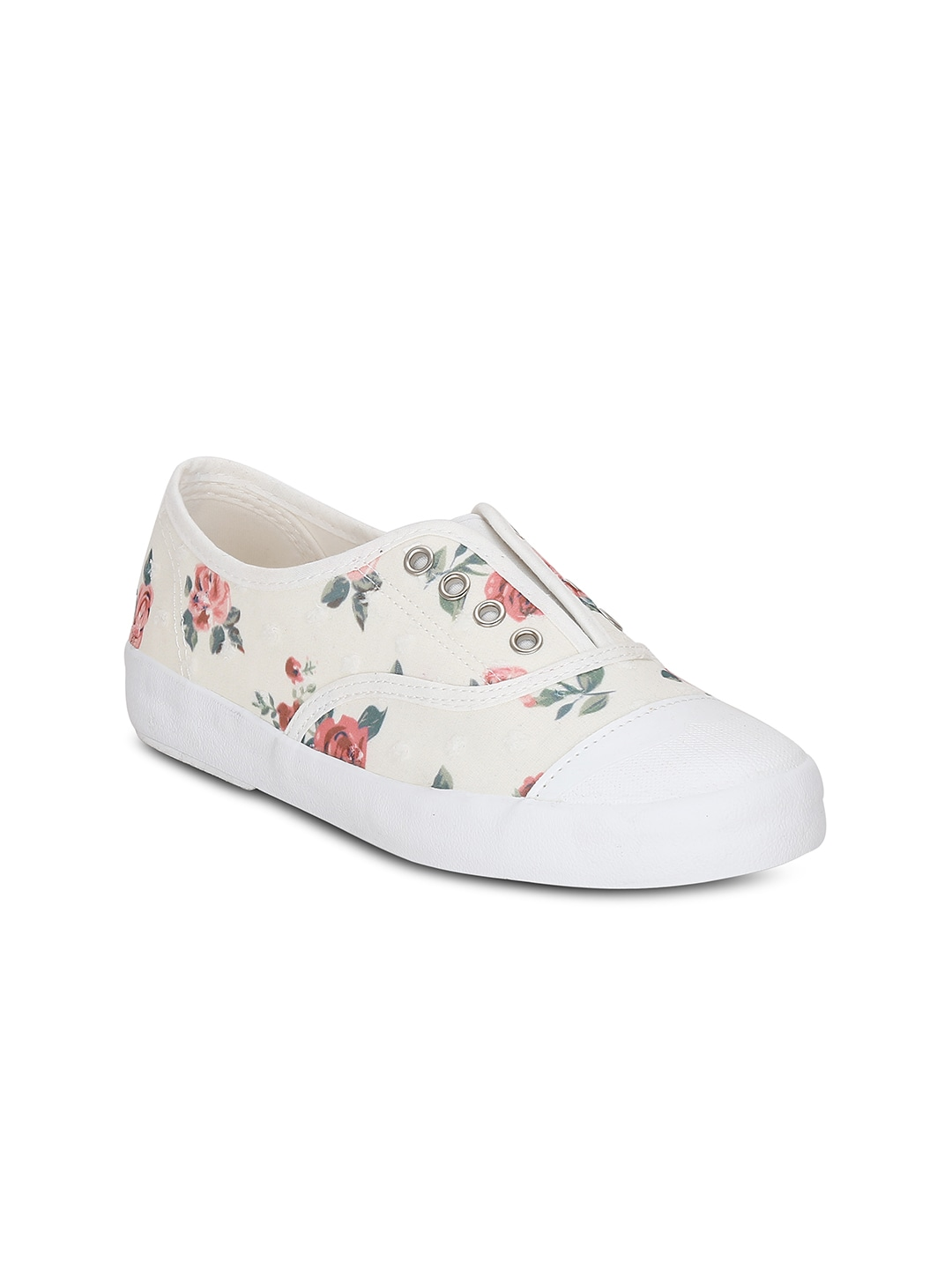 Get Glamr Women Off-White Floral Print Slip-On Sneakers image