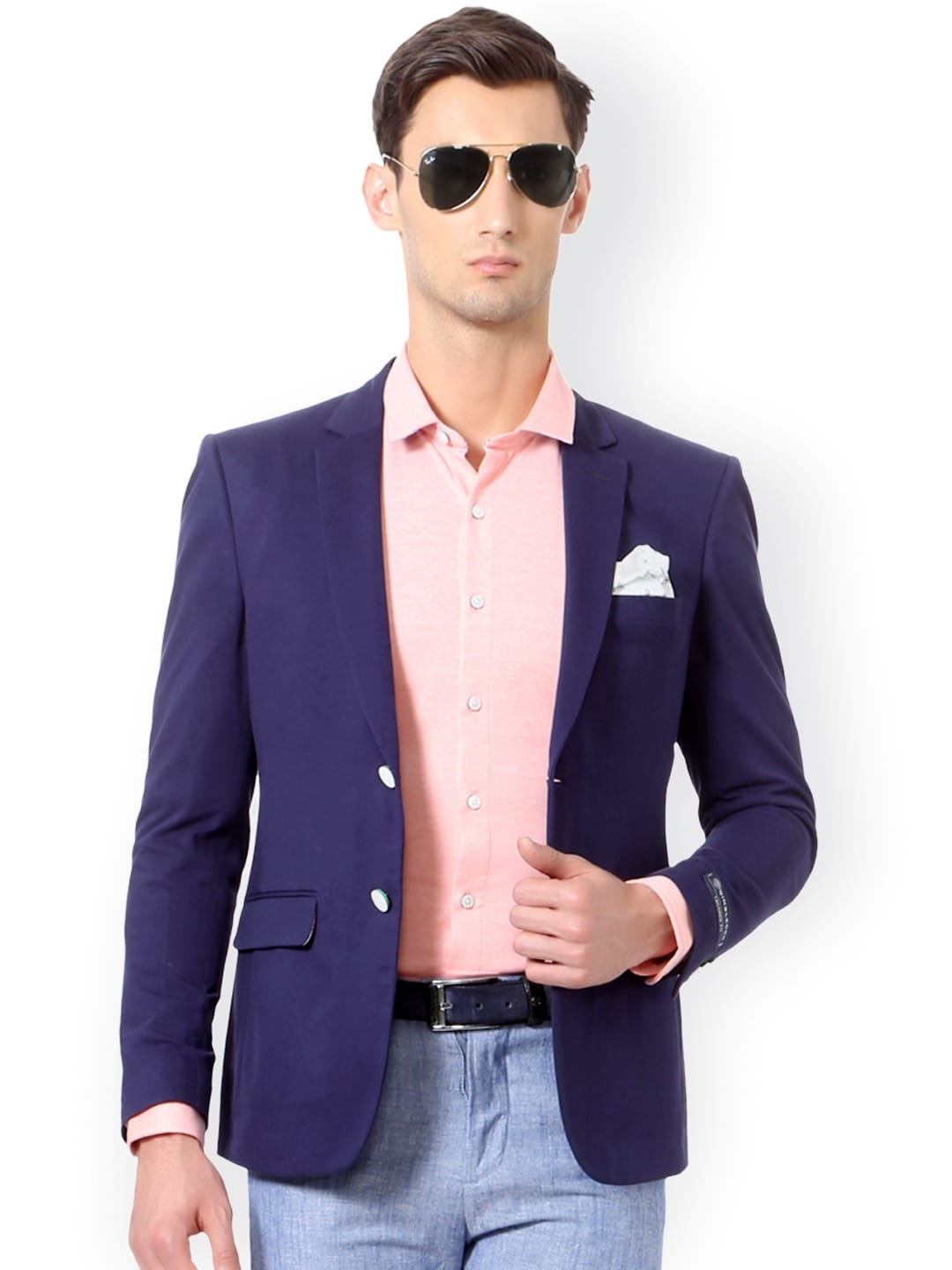 Solly Sport by Allen Solly Blue Slim Fit Single-Breasted Formal Blazer image