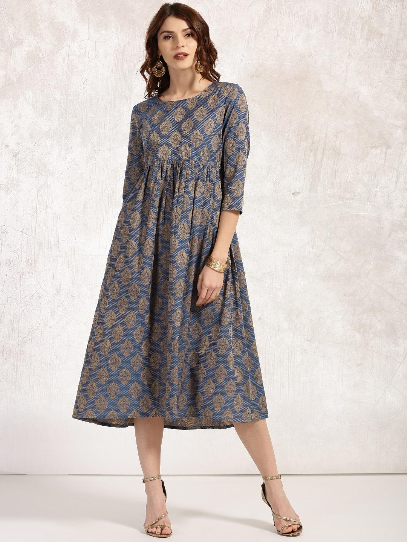 Anouk Women Navy & Beige Self-Design A-Line Brocade Handloom Kurtas image