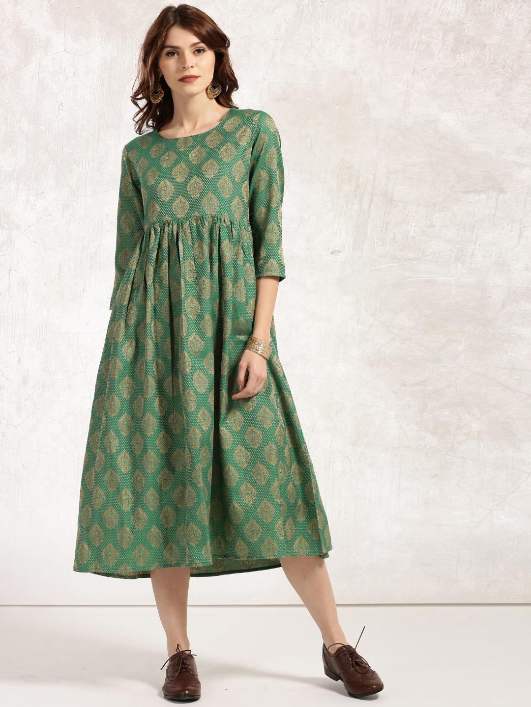 Anouk Women Green & Beige Self-Design A-Line Brocade Handloom Kurtas image