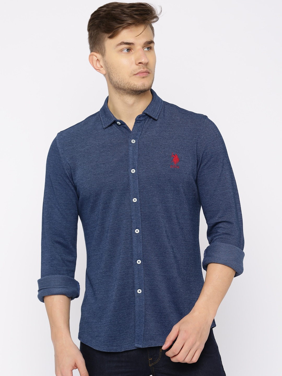 U.S. Polo Assn. Men Navy Regular Fit Solid Casual Shirt image