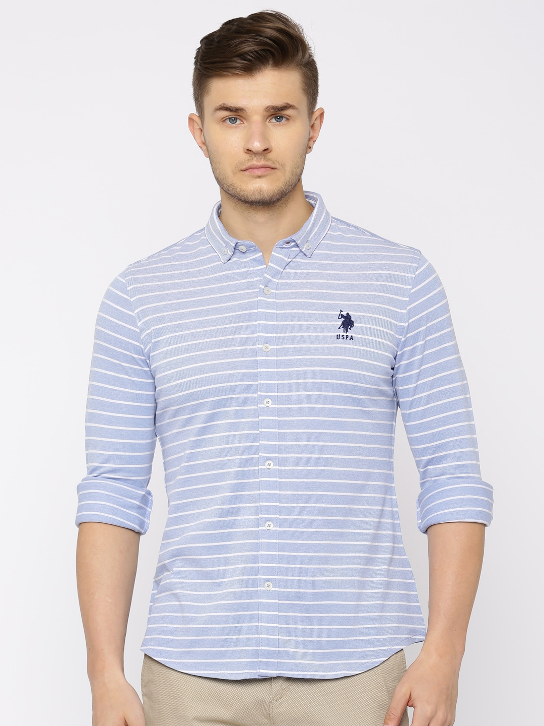 U.S. Polo Assn. Men Blue & White Regular Fit Striped Casual Shirt image