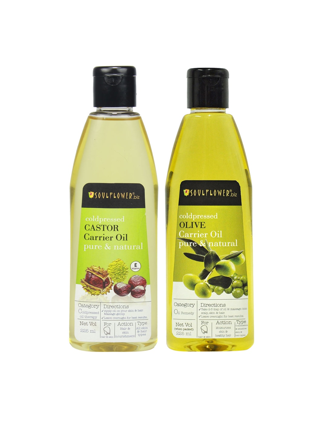 Soulflower Set of 2 Coldpressed Castor & Olive Carrier Oils 225 ml image