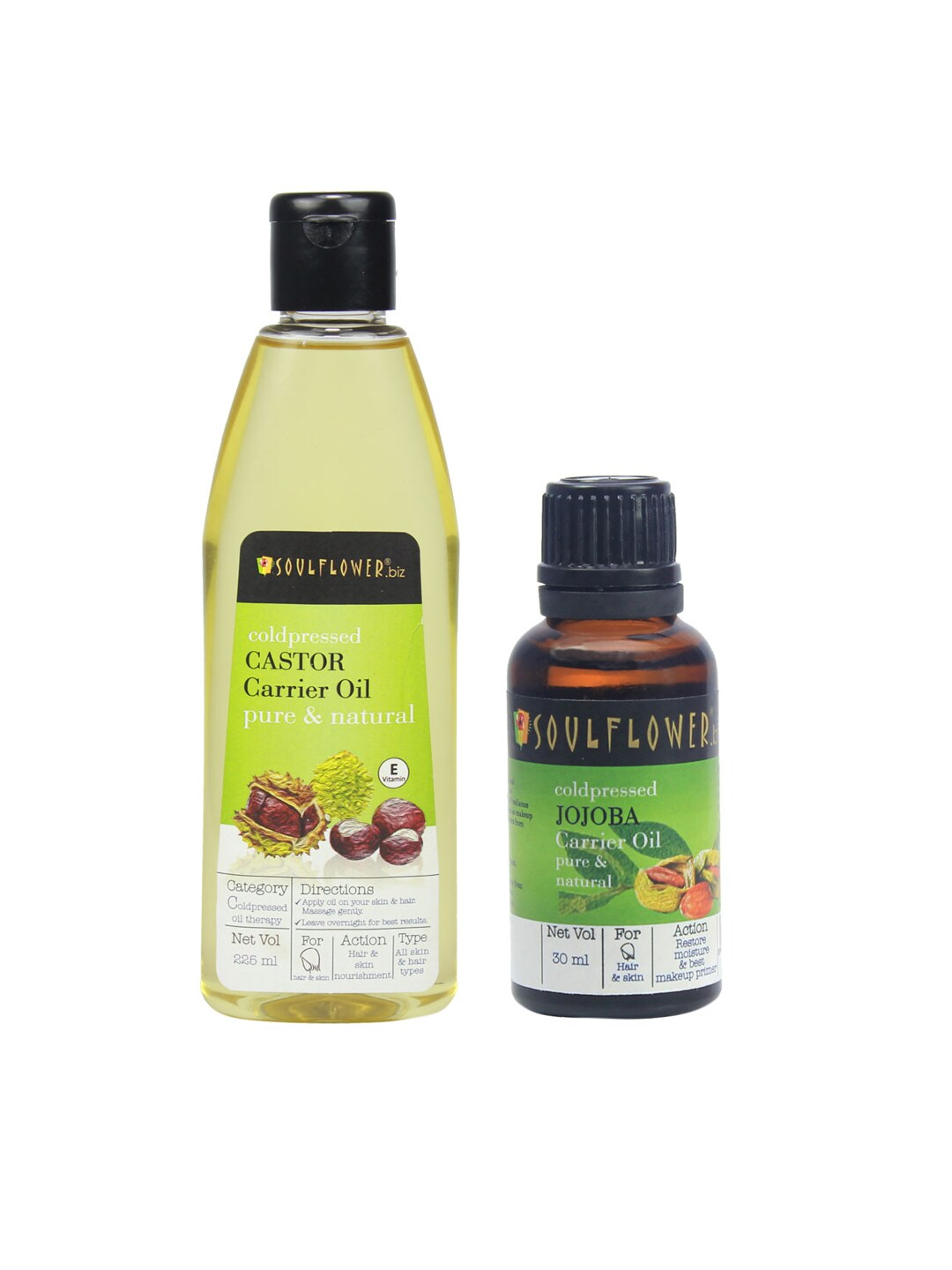 Soulflower Set of 2 Castor (225ml) and Jojoba Carrier Oils (30 ml) image