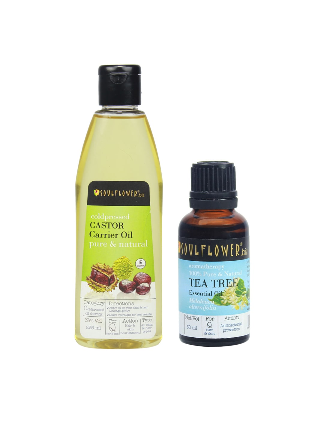 Soulflower Set of 2 Castor Carrier oil (225ml) & Tea Tree Essential Oils (30ml) image
