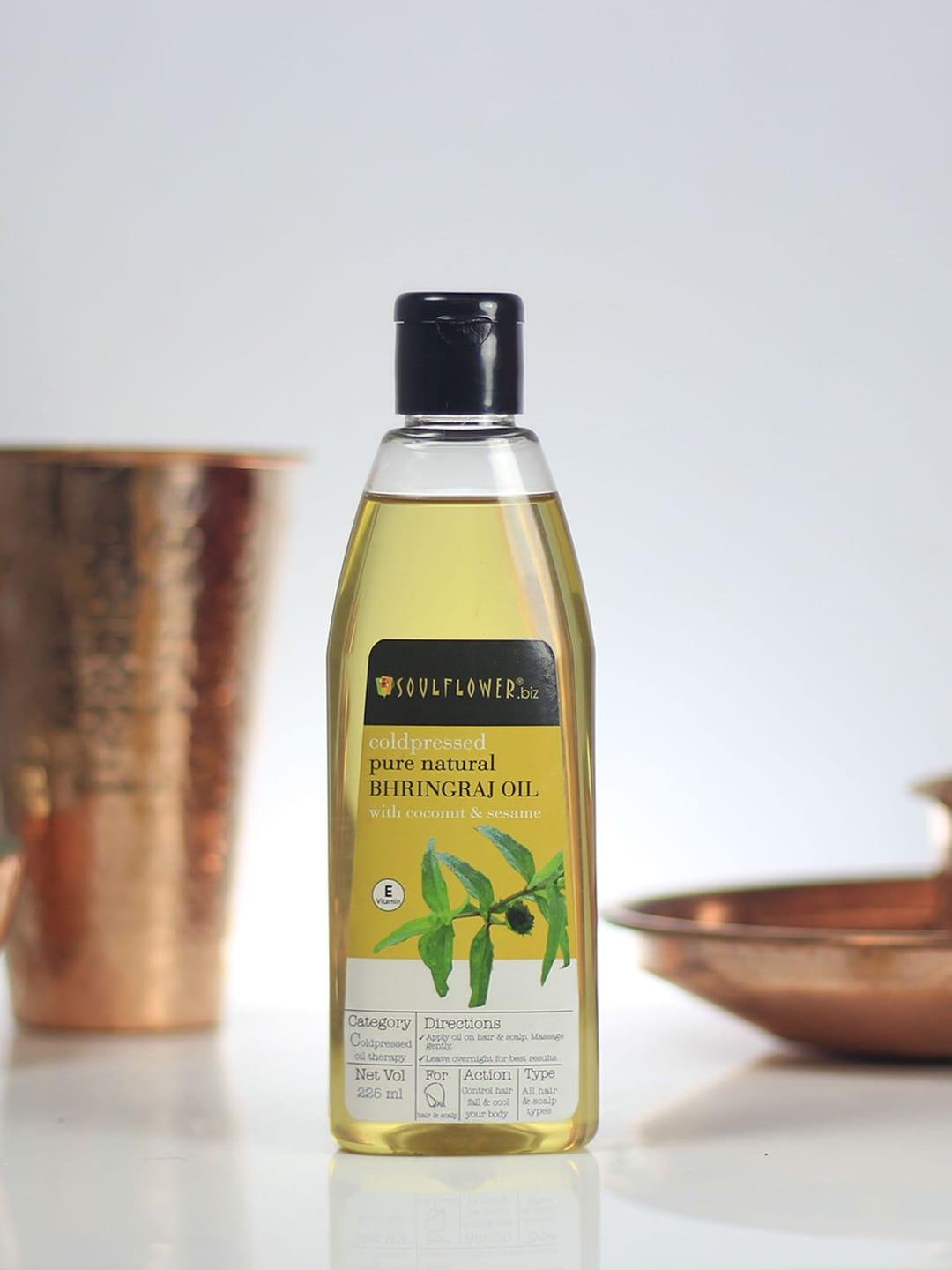 Soulflower Set of 2 Pure Natural Bhringraj Oil With Coconut & Sesame 225 ml image