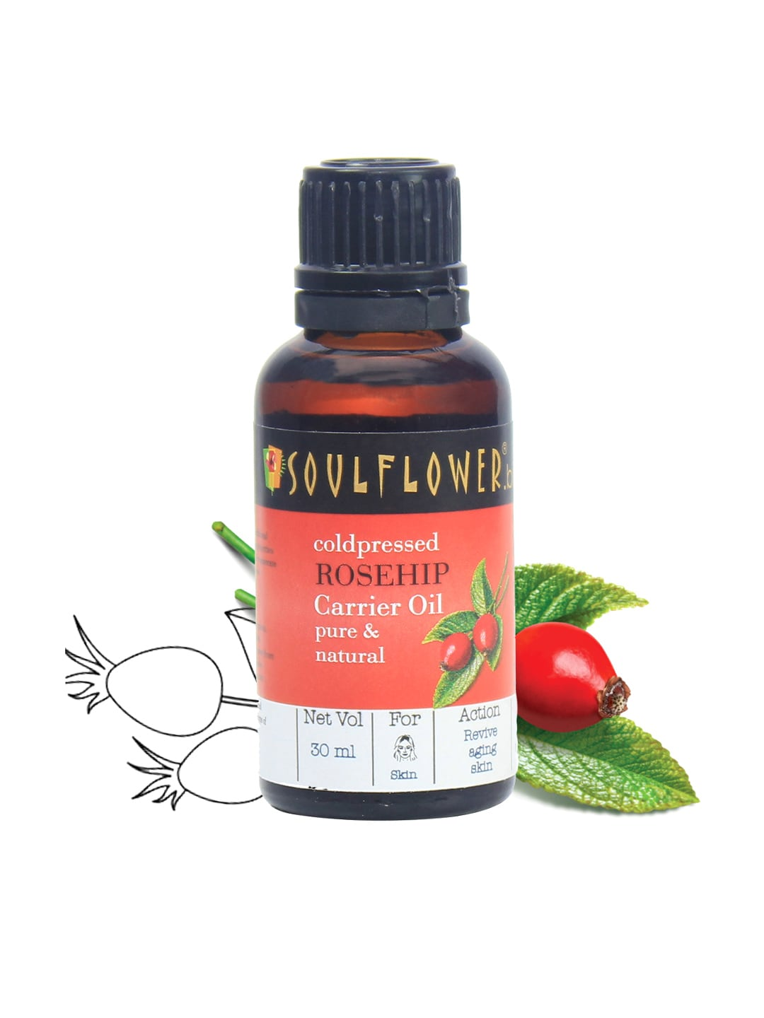Soulflower Rosehip Pure and Natural Oil 30ml image